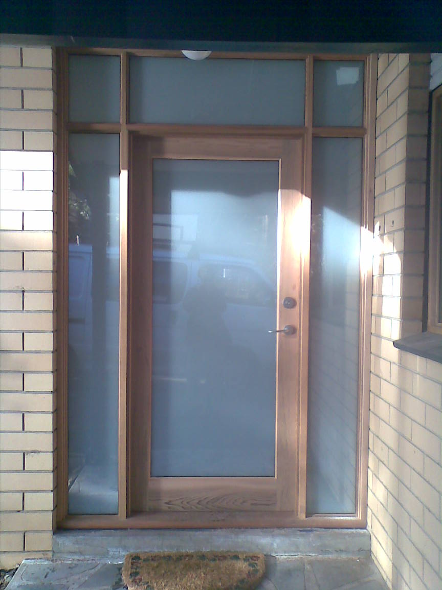 Full Glass Door And Door Frame With Sidelites And Hilites. Obscure White  Transluscent Laminate Glass.