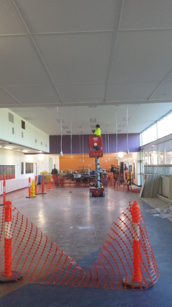 This particular dividing wall is nearly 4m high and required a scissor lift. Using a sub-head to align along the top.