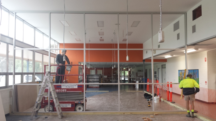 Commercial framing in clear anodise.