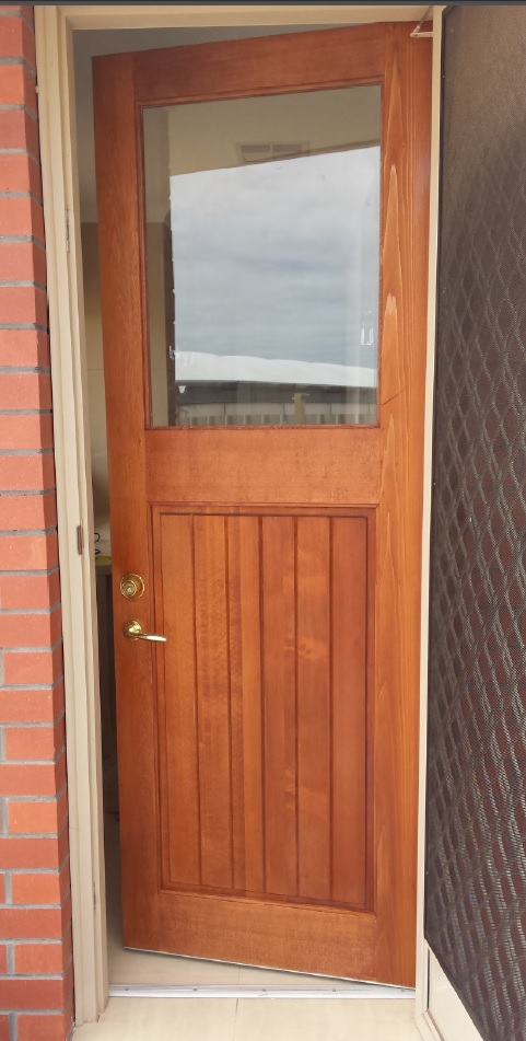 Western Red Cedar Door. Stained and hung by our happy client.
