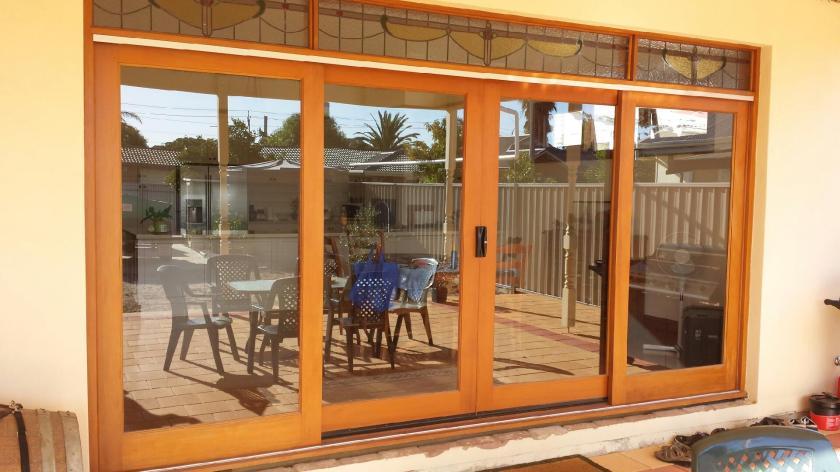 Western Red Cedar Sliding Door with 2 opening panels.
