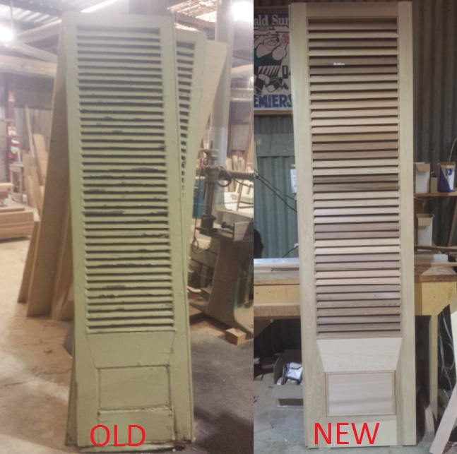 Old and the new plantation shutters. they are a pair of them with rebates.