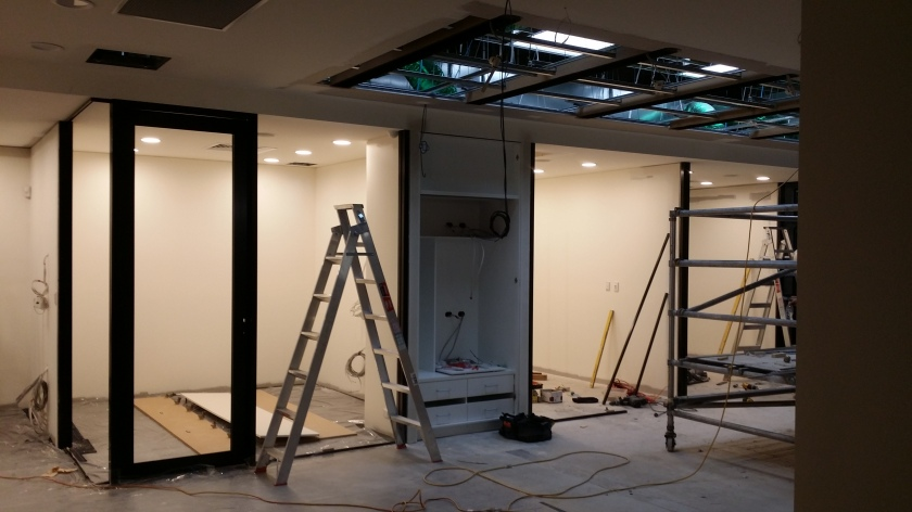 black commercial framing office partition