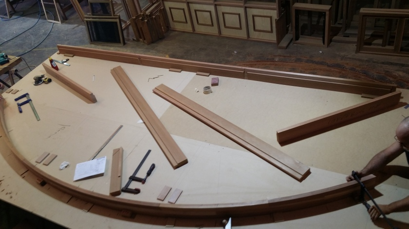 Here we are making a large arched window with colonial bars, top down photo showing us setting up the template etc.