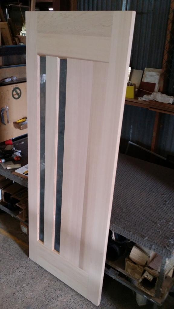 cedar door with rice paper lam 1