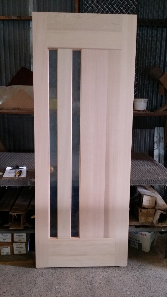 cedar door with rice paper lam 2