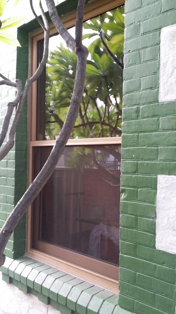 WRC single hung box frame window with double glaze glass.