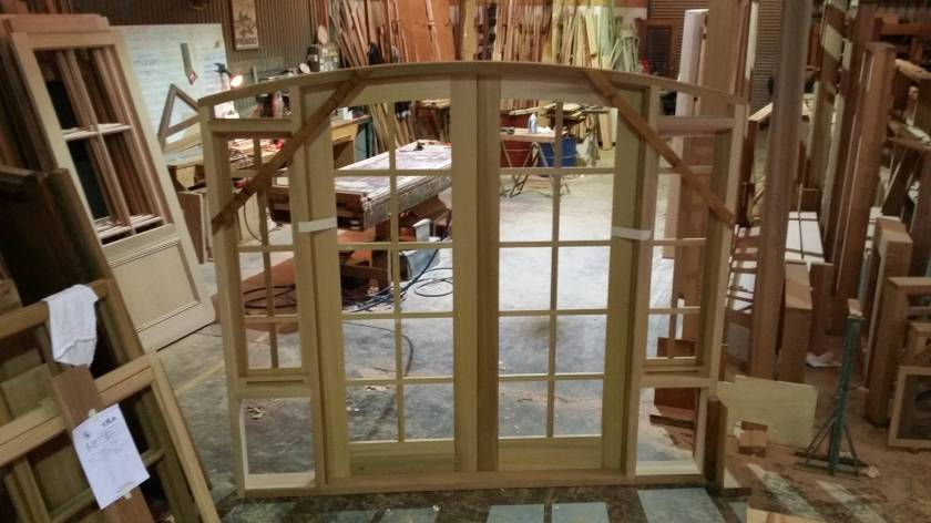 Inside view of a cedar doorframe.