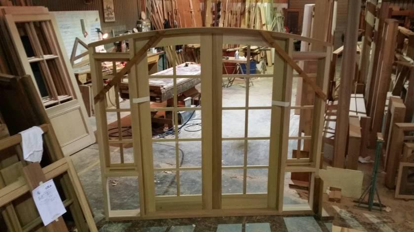 Inside view of a cedar doorframe.