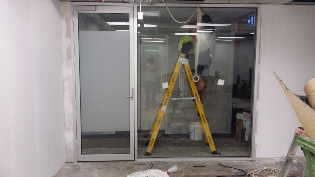 Clear anodise office partitions