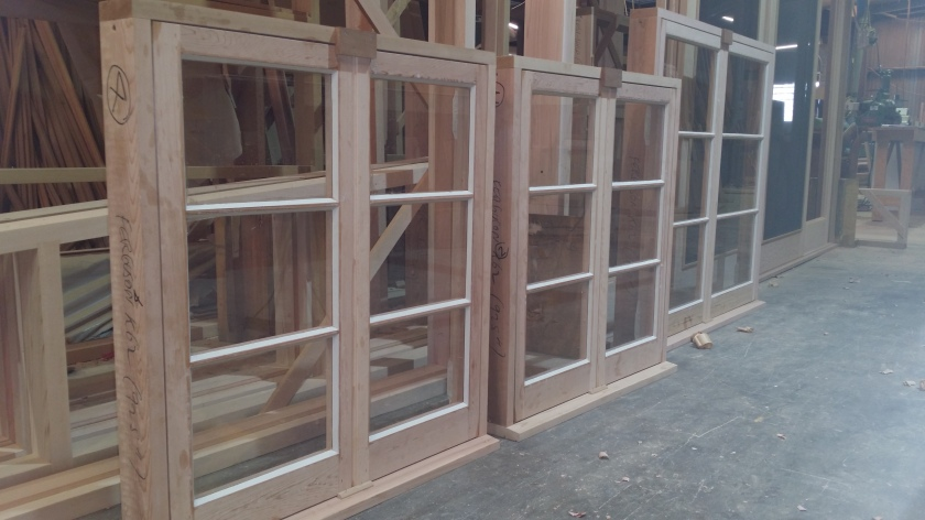 Casement windows with putty glazed sashes.