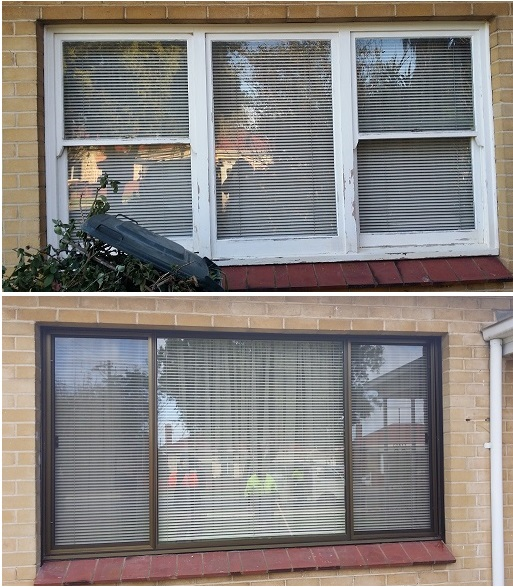 removal of old timber lift up window, replaced with aluminium double slider